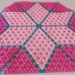 Beaded light pink striped star mat