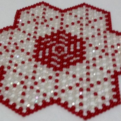 Red and White star mat