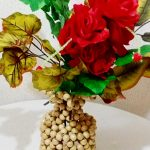 Wooden beaded flower vase