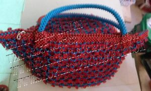 Blue and red beads rose flower Beaded bag design 2